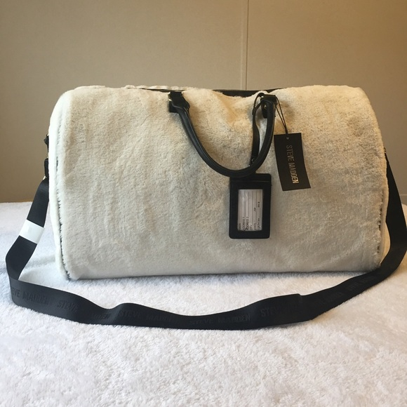 32e04752fa Steve Madden Ivory Faux Fur Duffle Travel Bag